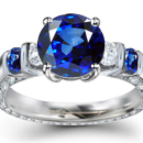Violetish Blue to Greenish Blue Hue and Medium Dark Tone Thai Sapphire with Diamonds