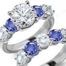 1.40ct Modern Oval Blue Sapphire Gemstone Ring with Diamonds G/H-VS