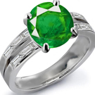 South African Emerald Ring with Diamonds
