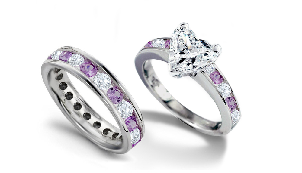 NEWDESIGNERBRIDALCOLL1041PT: Platinum Engagement Ring Set with Heart Diamond  and round diamonds & purple sapphires with a total weight of 2.25 cts for  ...