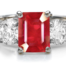 Round Diamond Emerald Cut Ruby Shiny Ring