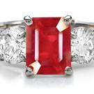 Trillion Cut Ruby Emerald Cut Diamond High Luster Ring