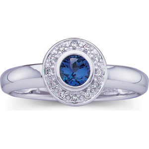 Blue Sapphire Border Ring with Diamond Accents