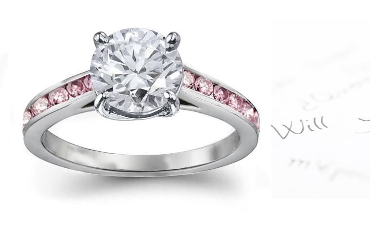 heart pink green red yellow blue diamond ring - Pink Diamond Wedding Rings