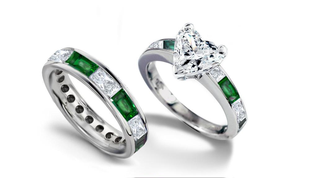 Emerald Heart Diamond Engagement Rings Wedding