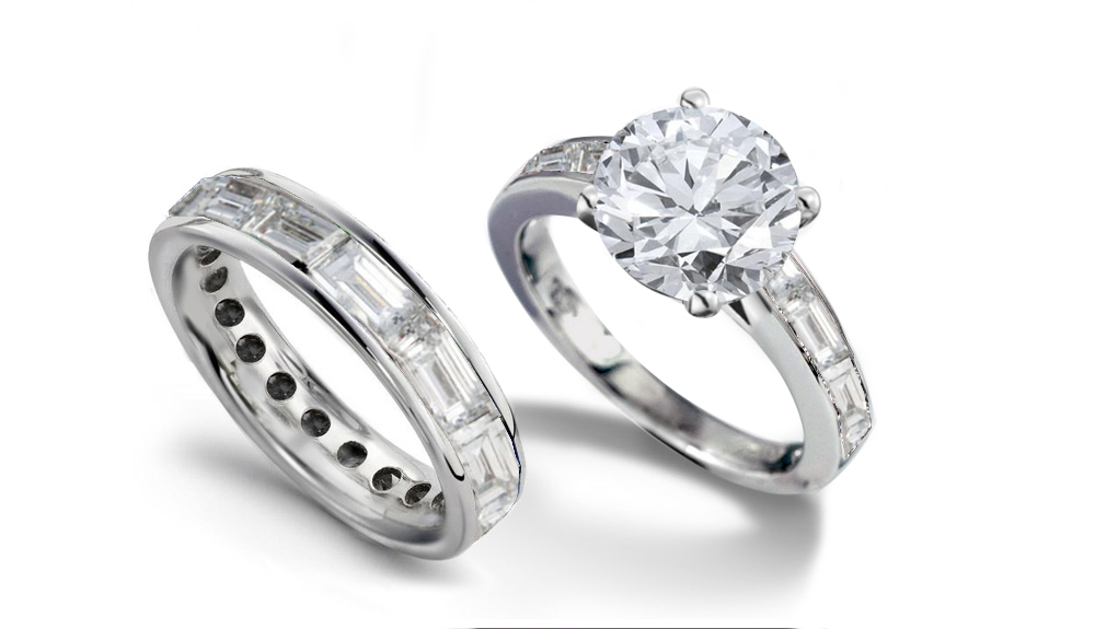 Newdesignerbridalcoll8038pt Platinum Engagement Ring Set With Round Diamond And Baguettes A Total Weight Of 2 0 Cts For 6975 00