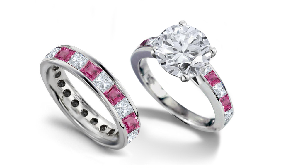 Pink diamond wedding rings