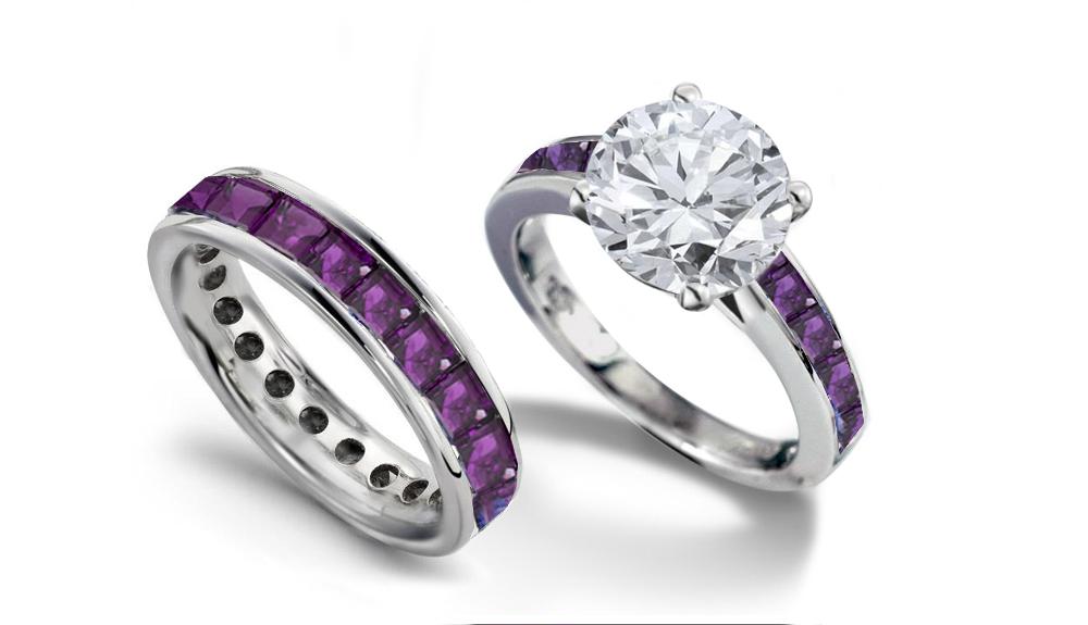 emerald heart diamond engagement rings wedding rings - Purple Wedding Ring