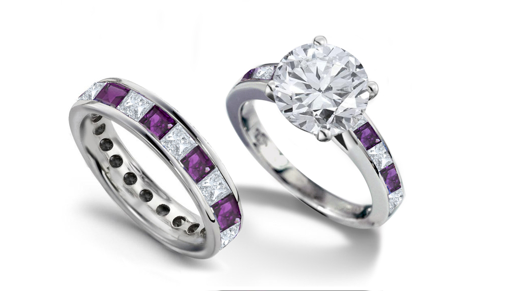 emerald heart diamond engagement rings wedding rings - Purple Wedding Rings