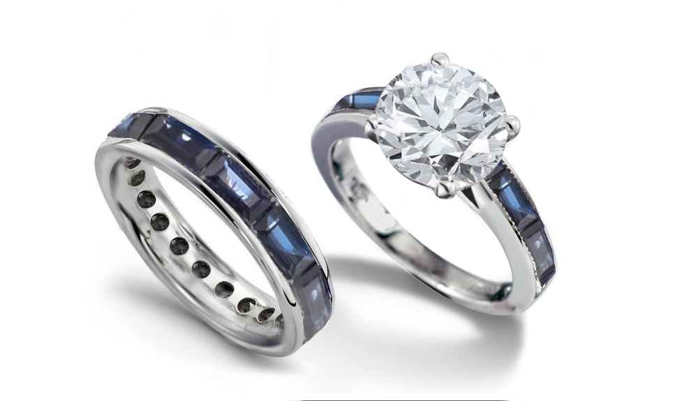 newdesignerbridalcoll8058pt platinum engagement ring set with round diamond and baguette diamonds blue sapphires with a total weight of 20 cts for - Blue Sapphire Wedding Ring Sets