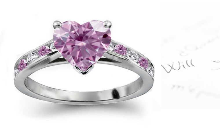 Valentine Day Friendship Gift Pink Heart Diamond Engagement Rings