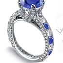 Blue Sapphire Ring with Diamonds 14K White Gold