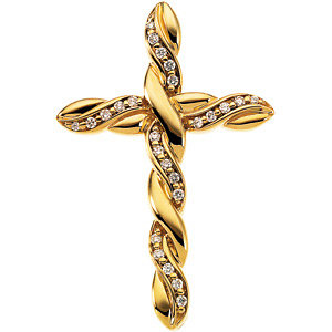 Rope design diamond cross pendant in 14k yellow gold mozeypictures Image collections