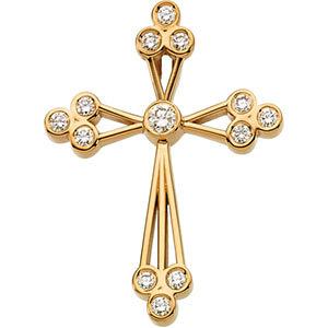 Diamond fancy cross pendant in yellow gold diamond cross pendant in 14k yellow gold aloadofball Images