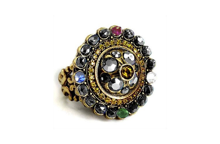 Olivine and Hematite Crystal Ruby Emerald Sapphire Diamond Medallion Ring in Gold