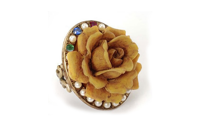 Romantic Vintage Inspired Gold Pearl Ruby Emerald Sapphire Blooming Rose Ring