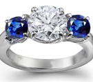 Amazing 2.35 Carat Royal Sapphire Rings with Diamond - 18k White Gold
