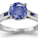 14K White Gold Star sapphire with Diamonds Size 5