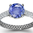 3.15ct Vintage Flower Oval Blue Sapphire Gemstone Ring with Diamonds G/H-VS