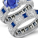 Diamond Ring with Genuine Sapphire (Clevage None, Sreak Colorless)