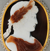 Ancient Cameo Brooch. Masterpiece of Art of Cameo Cutting, Heliotrope Cameo showing Bust of Christ Wearing The Crown of Thorns, Red Flecks indicating Blood, Matteo dal Nassaro, 16th Century $9,500.00