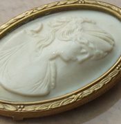Ancient Cameo Brooch, Masterpiece of Art of Cameo Cutting, Medusa Surrounded
