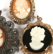 Ancient Three Cameo Pendant & Brooch, Masterpiece 1st Onyx Cameo in Gold with Diamond & Rubies Given by Pope Clement has Bust of Hercules, 2nd Onyx Cameo of Diana with French Gold Frame, 3rd is Miniature Altarpiece with Gold Triptych & Pieta Foot Cross