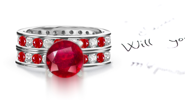 Ruby Diamond Eternity Engagement Rings Wedding Rings