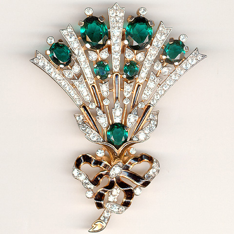 TWO DIAMOND HAIR ORNAMENTS OR AIGRETTES MADE IN CONTINENTAL EUROPE 1740, THE ORNAMENT THE RIBBON TIED SPRAY WITH EMERALDS, SPANISH OR PORTUGESE
