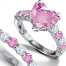 Pink Silver Round Cut Diamond Fashion Ring Size 7 K WHITE GOLD RING SIZE
