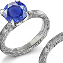 18K White Gold Diamond and Sapphire Ring 1927 on Front with Calendar from 1927