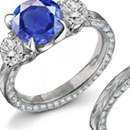 Platinum Art Deco Dinner Ring with 2.00 Ct. Sapphire and 1.00 Ct. Diamonds