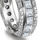 flush set with diamonds or diamonds and other stones equally spaced, half or all round