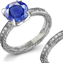 Genuine Sapphire Ring with Certified Diamond