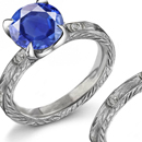 LADIES 10K YELLOW GOLD LOVE RING WITH SAPPHIRE AND DIAMOND ACCENTS