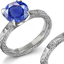 Certified Diamond and Sapphire Ring with Genuine Sapphires