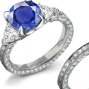 Round Diamond Square Sapphire Engagement Ring Design