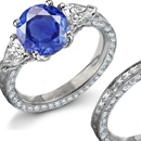 Diamond Ring, 18K White Gold with Mine Cut Diamond & Sapphires Accents Size 8