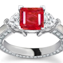 Ruby Rings Online - One large and two smaller emerald-cuts make a striking three-stone ring