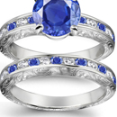 BLUE SAPPHIRE DIAMOND RING WHITE GOLD QUALITY