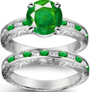 14K GOLD ON STERLING ESTATE DINNER RING ROUND & EMERALD CUT DIAMONDS 4.5 GR