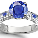 Natural 1.09 TCW Oval Cut Blue Sapphire & Diamond Cocktail Ring 14K White Gold