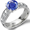 10k White Gold Genuine Blue Sapphire and Diamond Ring (1/8 TDW)