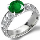 10k White Gold Emerald Diamond Three stone promise Engagement Ring