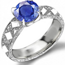 1 CARAT BLUE SAPPHIRE DIAMOND RING WHITE GOLD QUALITY