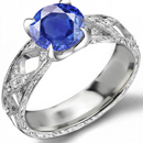 10k White Gold Genuine Blue Sapphire and Diamond Ring (1/4 TDW)