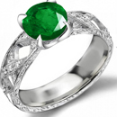 VINTAGE ESTATE 14 K WHITE GOLD EMERALD & DIAMOND RING, 2 carats, Size 6 1/2