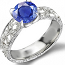 14K WHITE GOLD OVAL .42 ct SAPPHIRE .19 CT DIAMOND RING