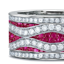 Genuine Red Ruby Rings with Real Diamonds