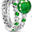 14k White Gold Emerald Ring Pave Setting with Certified Diamonds